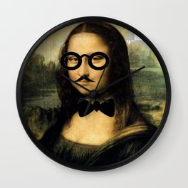 Hipster Nerd Mona Lisa With Charlie Chaplin Moustache Wall Clock