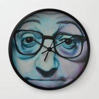 woody allen Wall Clocks featuring Woody Allen by Boaz