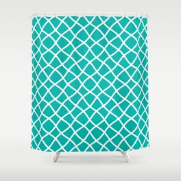 Turquoise and white curved grid pattern Shower Curtain