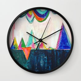 Bliss land abstract candy colored painting Wall Clock
