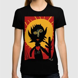 Life is a little man under the sun in a red sky African Art T-shirt