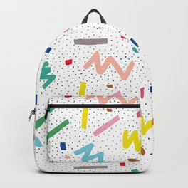 Memphis Pattern Stripes Zigzag and Blobs Backpack