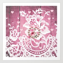 Elegant Lace Hearts and Swan Art Print