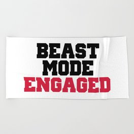 Beast Mode Engaged Gym Quote Beach Towel