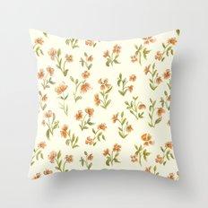 Orange Vintage Floral Pattern Throw Pillow
