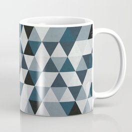 Sea Blue and Grey / Gray - Hipster Geometric Triangle Pattern 02 Coffee Mug