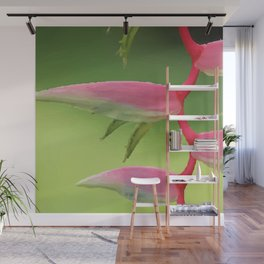 Heliconia Flower pink Illustration Wall Mural
