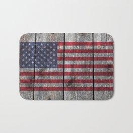 USA flag - on grainy wood Bath Mat
