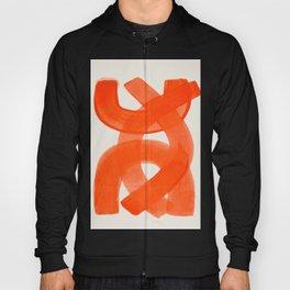 Mid Century Modern Abstract Painting Orange Watercolor Brush Strokes Hoody