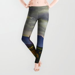 Sun through Clouds on Autumn Foliage by Rockwell Kent Leggings