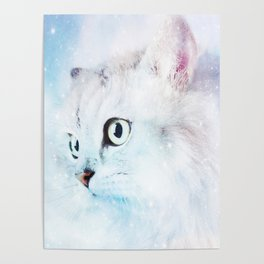 Fluffy starry cat Poster
