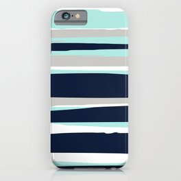 Ocean, Stripe Abstract Pattern, Navy, Aqua, Gray iPhone Case