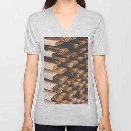Freshly Cut Wood Stacked for Lumber Air Drying Unisex V-Neck
