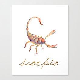 Watercolor Scorpio Scorpion Canvas Print