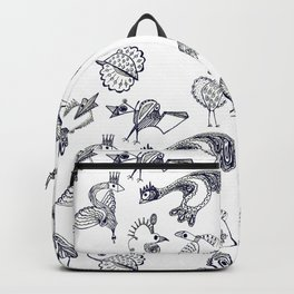 Sketch art with fairy birds and animals Backpack