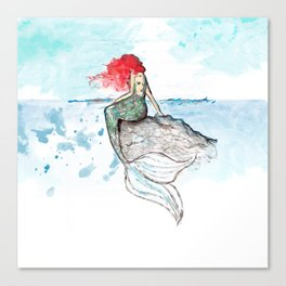 Mermaid - watercolor version Canvas Print