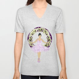 Ballerina Orchid Wreath Unisex V-Neck