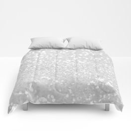 Chic elegant glamour White Faux Glitter  Comforters