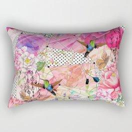 Nature flowery geometric with birds Rectangular Pillow