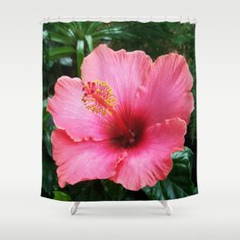 Tropical Red Hibiscus Shower Curtain