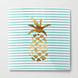 Pineapple & Stripes - Mint/White/Gold Metal Print