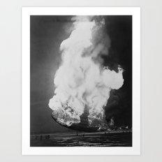 Hindenburg in flames Art Print