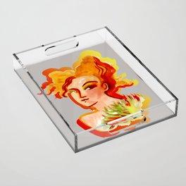 Deep orange yellow hues fashion portrait Acrylic Tray