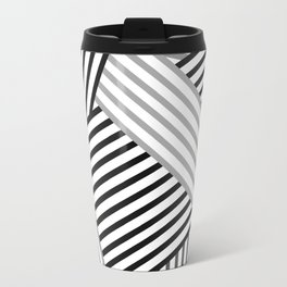White gray striped abstract pattern 2 Travel Mug