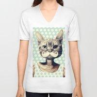 kitten V-neck T-shirts featuring Kitten by zumzzet