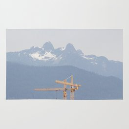 Mountains and cranes Vancouver Rug