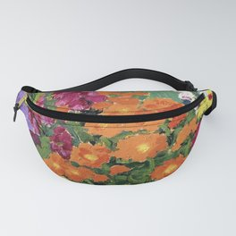 Floral Garden of Iris, Marigold, and Pansies still life floral portrait painting by Emil Nolde Fanny Pack