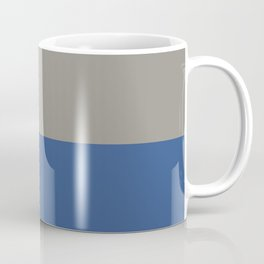 Classic Blue and Light Gray Taupe Solid Colors Horizontal Stripe Minimal Graphic Design  Coffee Mug