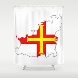 Guernsey Outline Silhouette Map With Inset Flag Shower Curtain
