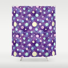 Need Some Space! Kawaii Galaxy Doodle Shower Curtain