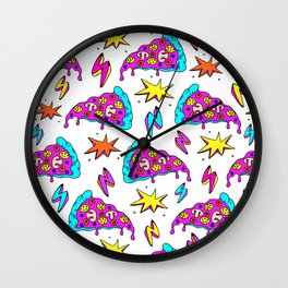 Crazy space alien pizza attack! Wall Clock