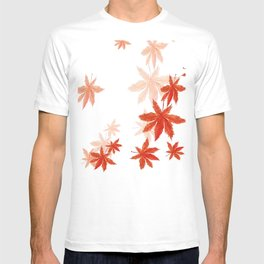 Falling red maple leaves watercolor painting T-shirt