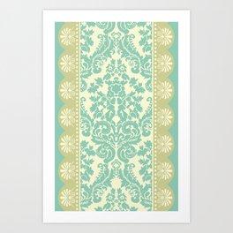 Ornamental Renaissance Border Design Acqua  Art Print