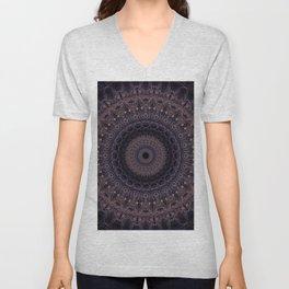 Mandala in cherry and plum tones Unisex V-Neck