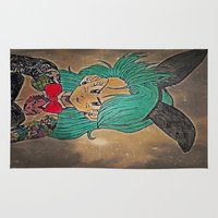 dragon ball Area & Throw Rugs featuring First Lady Of Dragon Ball  by Artistic