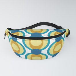 Retro Circle Pattern Mid Century Modern Turquoise Blue and Marigold Fanny Pack