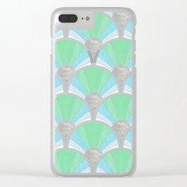Green Pastel Art Deco Fan Pattern Clear iPhone Case