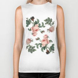 Rose Garden Butterfly Pink on White Biker Tank
