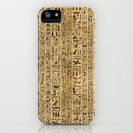 Egyptian hieroglyphs on papyrus iPhone Case