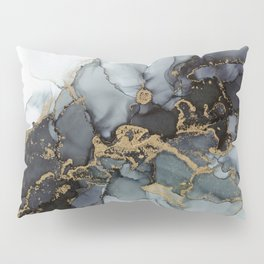 Stormy Black Gold Marble | Abstract Ink Pillow Sham