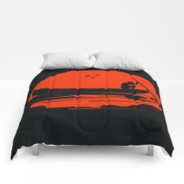 fisherman silhouette Comforters