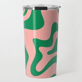 Liquid Swirl Modern Retro Abstract Pattern in Pink and Bright Green Travel Mug