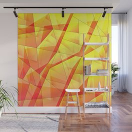 Bright contrasting fragments of crystals on irregularly shaped yellow and orange triangles. Wall Mural