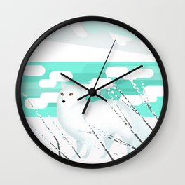 Arctic Fox - Cold but beautiful Wall Clock