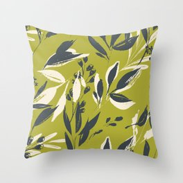 Botanical brush strokes: leafy ink strokes on olive green Throw Pillow