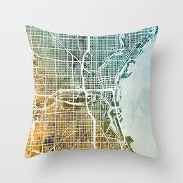 Milwaukee Wisconsin City Map Throw Pillow